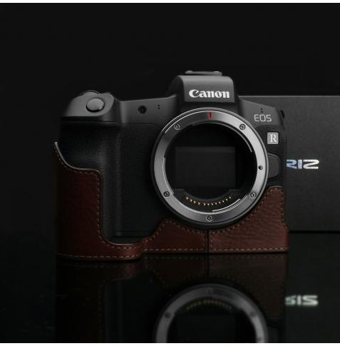 GARIZ HALF CASE- In Pelle Marrone Per Canon Eos M5